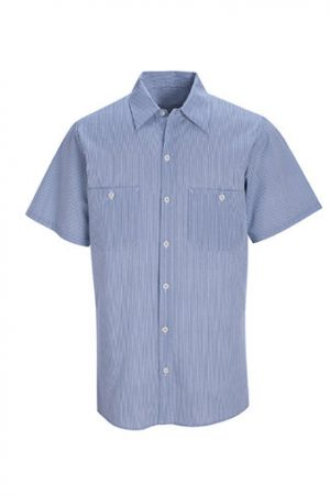 Striped Short Sleeve Industrial Work Shirt